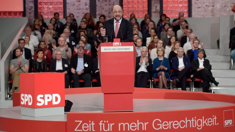 El candidato del SPD, Martin Schulz, durante el congreso del partido en Berlín.