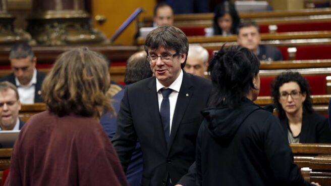 Carles Puigdemont, en el Parlament.