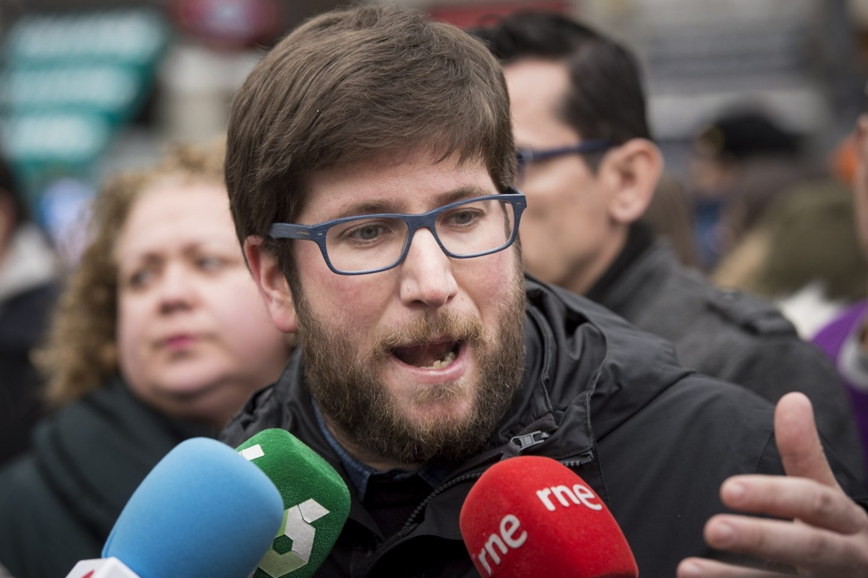 El eurodiputado de Podemos Miguel Urbán, que ha encabezado la marcha por la capital.