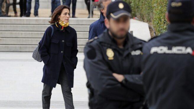 Mireia Pujol, tras su declaración en la Audiencia Nacional.
