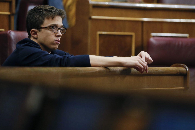 Iñigo Errejón, en su escaño del Congreso.