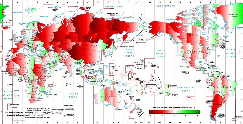 Desviación de la hora legal respecto a la hora solar en el mundo.