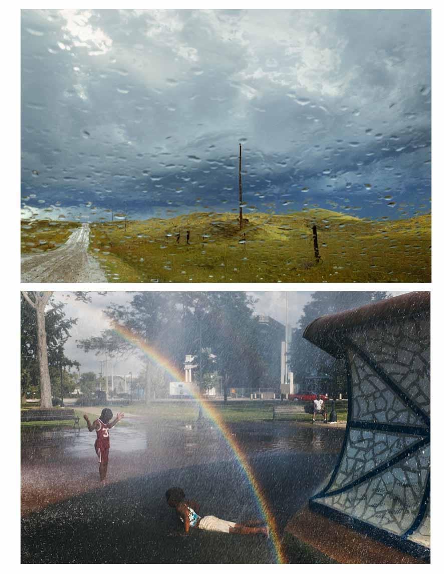 La lluvia en Dakota del Sur (arriba) tomada por Rebecca Norris. Abajo en Pensilvania imagen de Alex Webb.