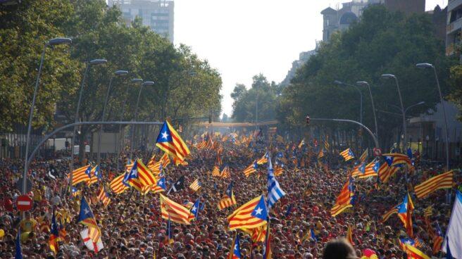 Banderas independentistas durante una concentración con motivo del día de Cataluña.