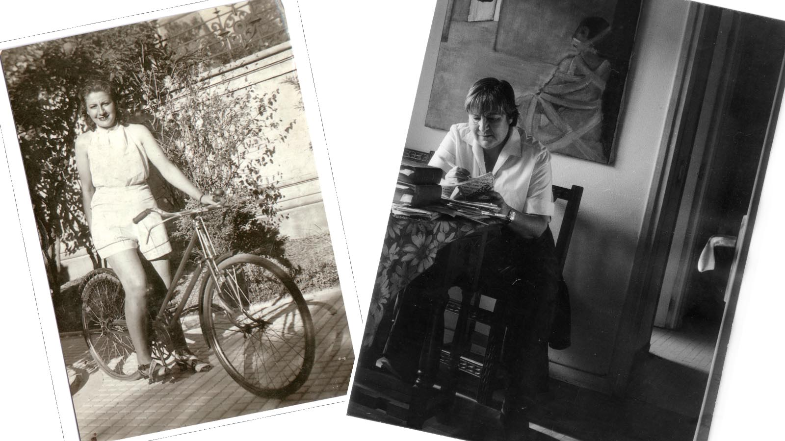 fotos de gloria fuertes en 1937 y escribiendo en su casa en los años 80.