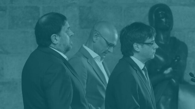 Oriol Junqueras, Raül Romeva y Carles Puigdemont.