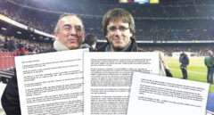 Josep Manel Bassols y Carles Puigdemont, juntos durante un partido en el Nou Camp.