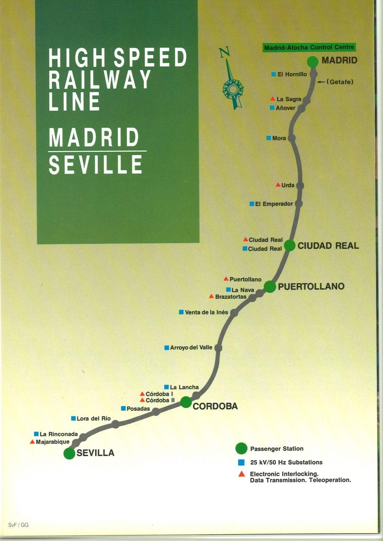 Gráfico de principios de los 90 que muestra el recorrido de la línea Madrid-Sevilla.