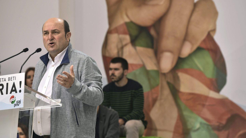 El presidente del PNV, Andoni Ortuzar, durante su intervención en el Aberri Eguna.
