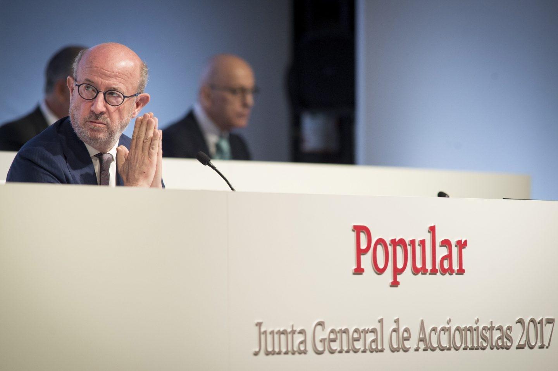 Emilio Saracho, presidente de Popular, en la junta de accionistas del banco.