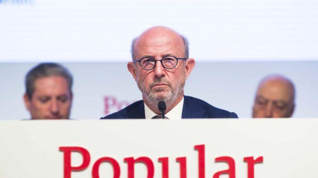 El presidente de Popular, Emilio Saracho, en la Junta de Popular.