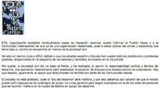 """ETA anuncia su desarme pero alerta de su riesgo """"por los enemigos de la paz"""""""