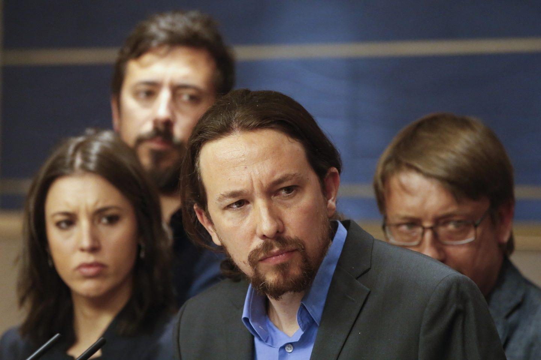 Pablo Iglesias, durante la rueda de prensa en la que anunció la moción de censura al Gobierno.
