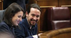 Irene Montero y Pablo Iglesias, en el Congreso.