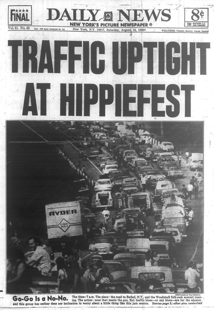 Histórico atasco en Woodstock en 1969