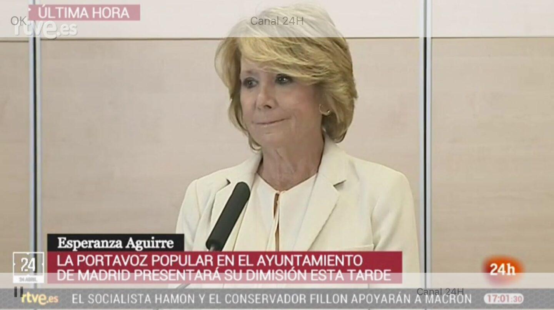 Esperanza Aguirre, durante su comparecencia.