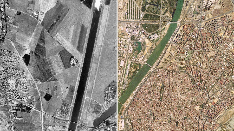 La Isla de la Cartuja antes (1984) y después (1998) de la Expo de 1992