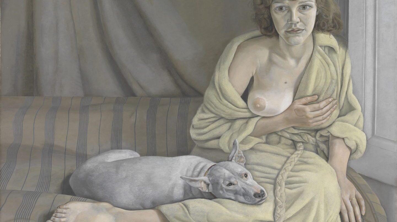 'Muchacha con perro blanco', de Lucian Freud.