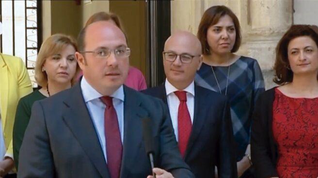 Pedro Antonio Sánchez, durante su comparecencia de este martes.