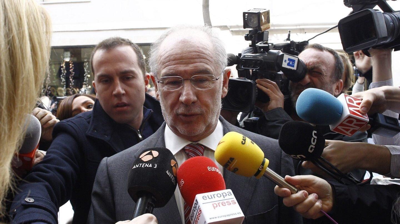El ex presidente de Bankia, Rodrigo Rato, antes de declarar en los juzgados.