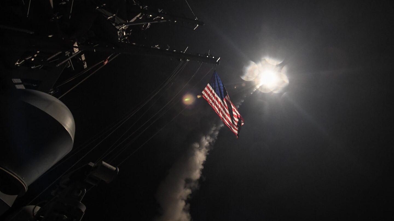 Una imagen del bombardeo de EEUU en Siria.