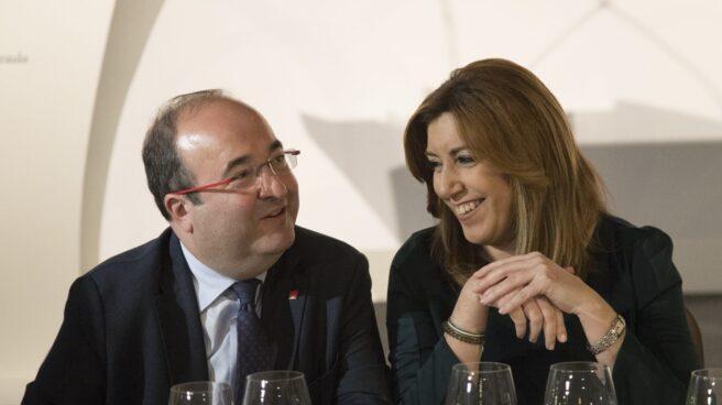 Susana Díaz y Mikel Iceta durante un almuerzo este miércoles en Barcelona.