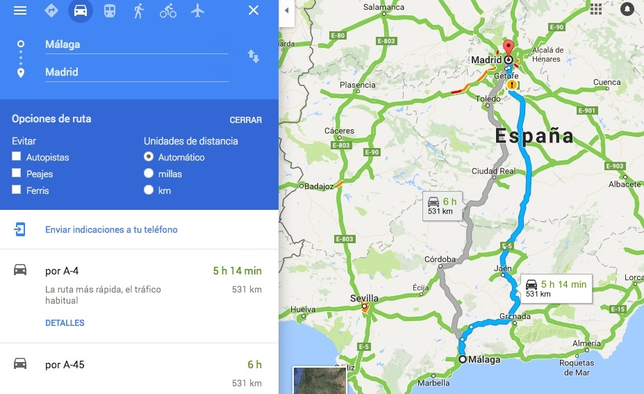 Típico panel de variables para calcular una ruta en Google Maps
