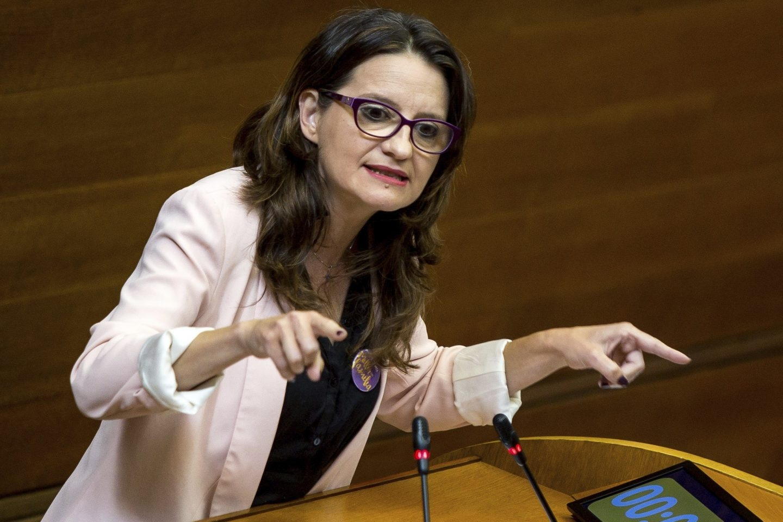 La vicepresidenta de la Generalitat, Mónica Oltra, en las Cortes valencianas.