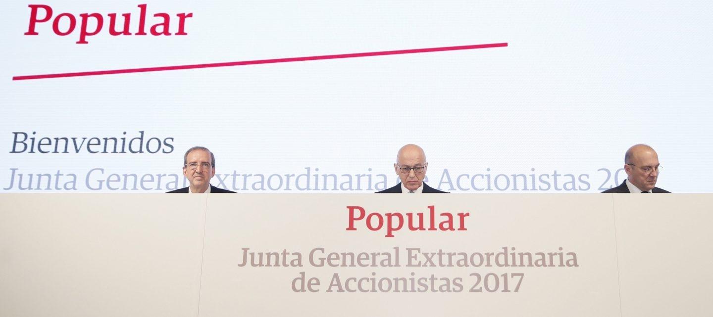 Francisco Aparicio, en una Junta de Accionistas de Popular.