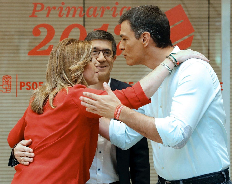 Díaz, López y Sánchez, en Ferraz antes del debate.
