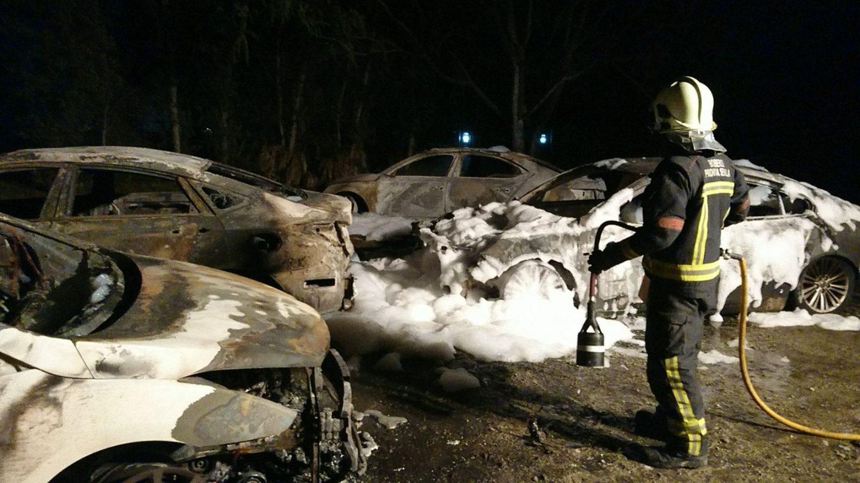 Los coches de Cabify, calcinados tras el incendio