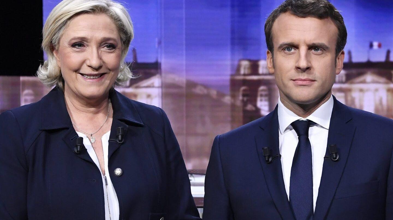 Le Pen y Macron, en el debate previo a la segunda vuelta.