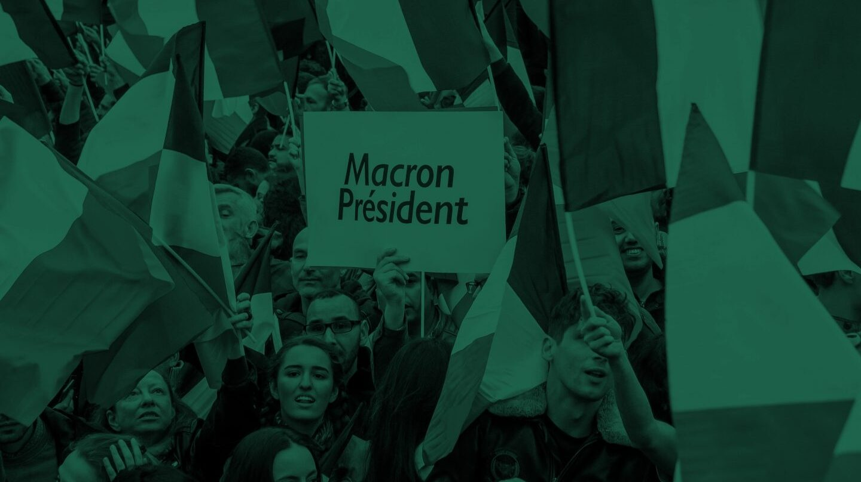 Seguidores de Emmanuel Macron, festejando la victoria.