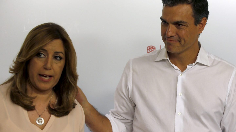 Susana Díaz y Pedro Sánchez, en Ferraz tras las primarias.