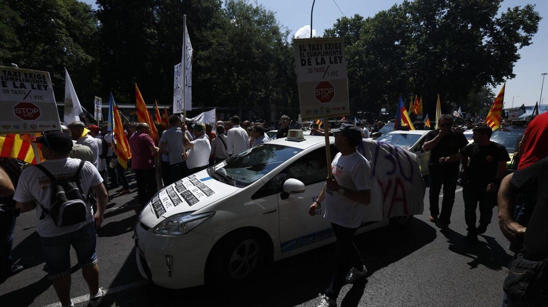 La manifestación del taxi en Madrid.