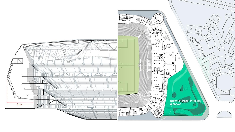 Detalle de la remodelación del Santiago Bernabéu