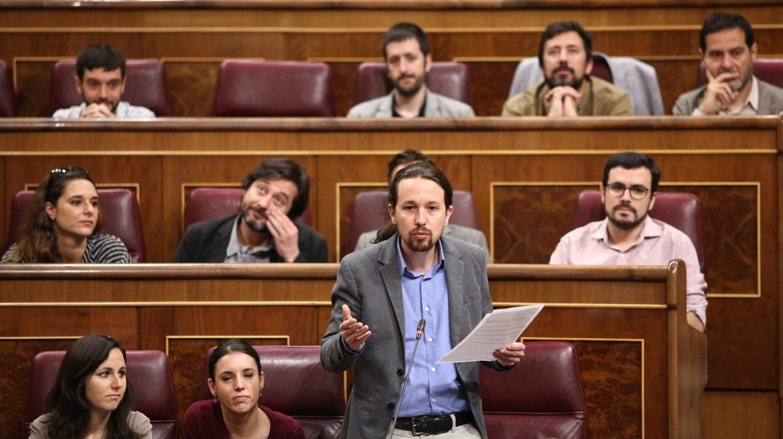 La bancada de Unidos Podemos este jueves durante el pleno en el Congreso.