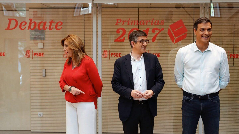 Susana Díaz, Patxi López y Pedro Sánchez, antes de comenzar el debate.