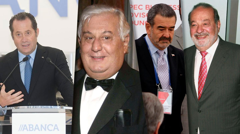 Juan Carlos Escotet, Antonio del Valle, Andrónico Luksic y Carlos Slim
