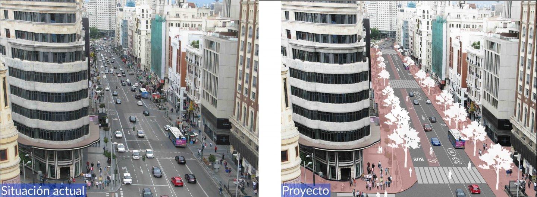 Futura Gran Vía en el tramo entre Callao y Plaza España que sí contará con un pequeño carril bici.
