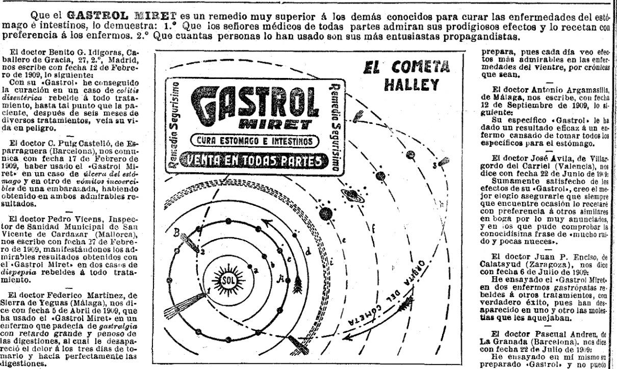 Diagrama patrocinado del cometa Halley en 'La Vanguadia' de 1910