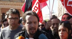 Pablo Iglesias, junto a Irene Montero e Íñigo Errejón, en una concentración por el 1 de Mayo.