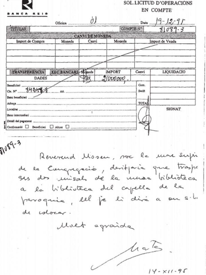 Documento manuscrito de Marta Ferrusola que aparece en las investigaciones.