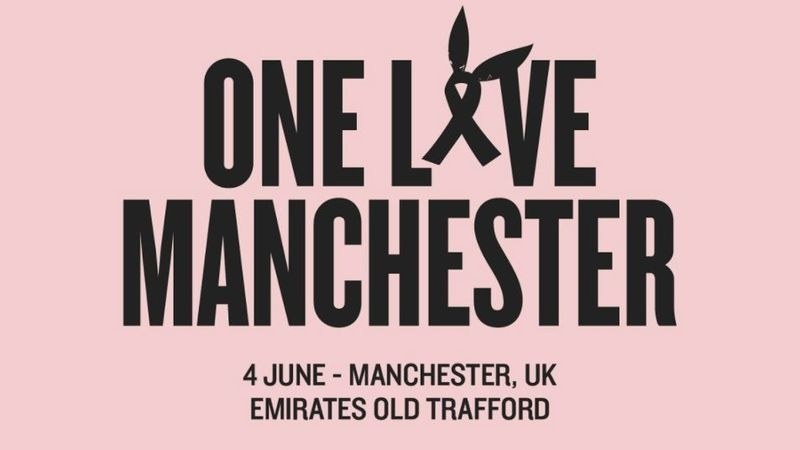 Cartel benéfico del concierto de Manchester.