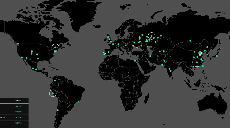 Mapa de los ciberataques.