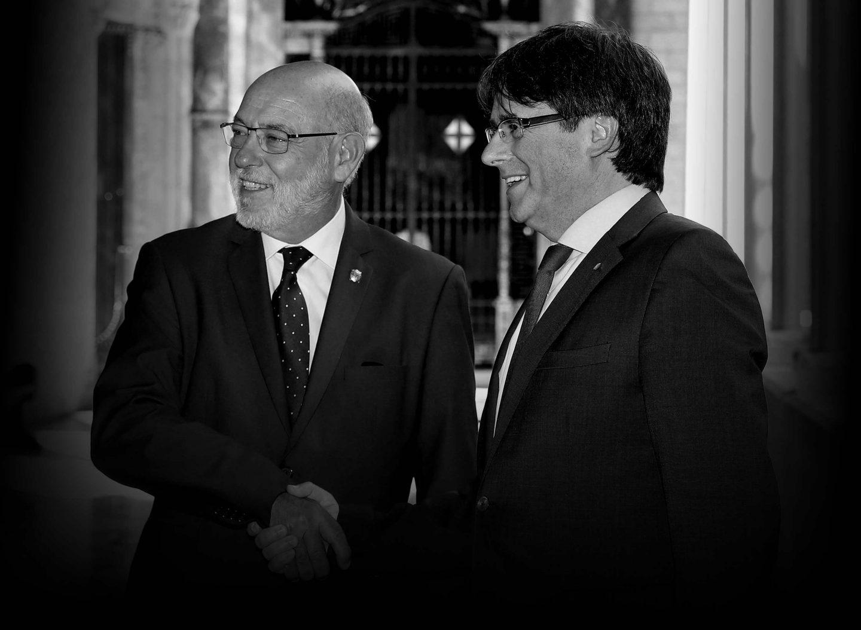El presidente de la Generalitat, Carles Puigdemont, recibe al nuevo fiscal general del Estado, José Manuel Maza.