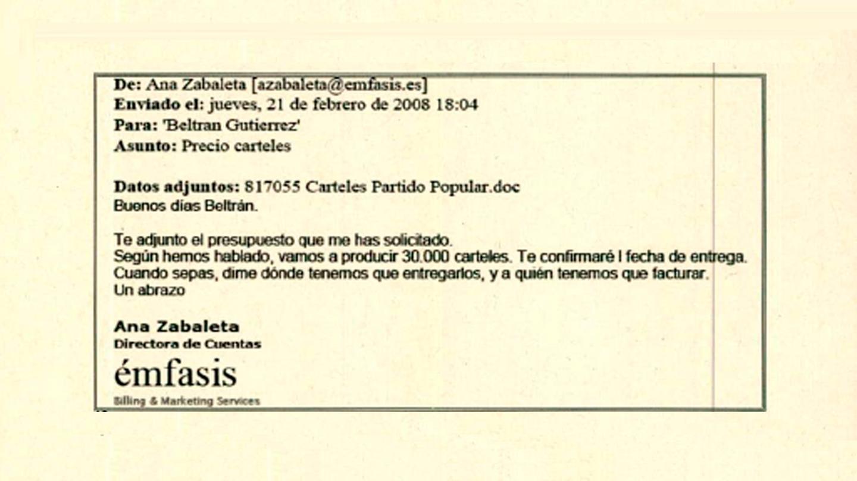 Correo electrónico incautado a Beltrán Gutiérrez.