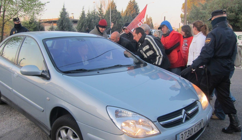 Piquete sindical en acción durante una huelga.