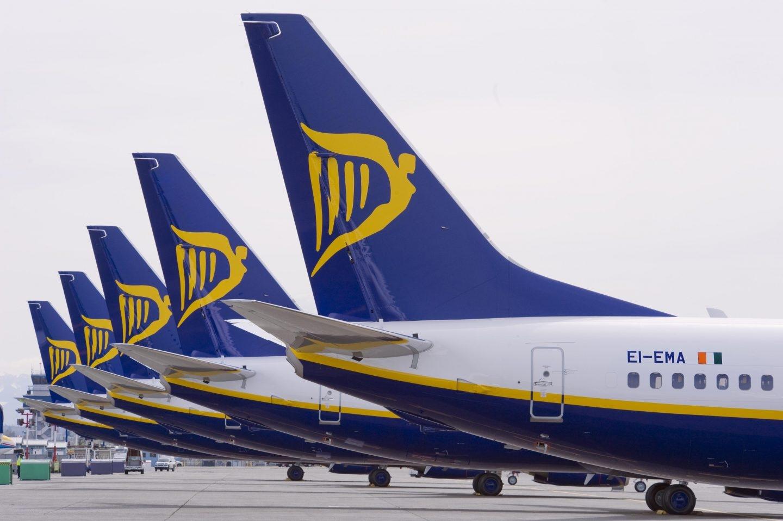 Aviones de la aerolínea de bajo coste Ryanair.