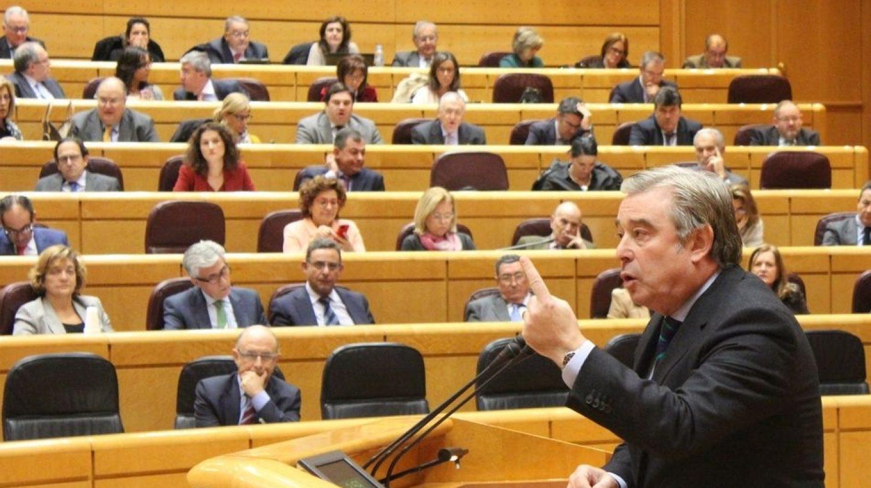 Barreiro durante el debate en el Senado de la comisión de financiación de los partidos
